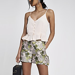 Pink diamante pearl embellished frill shorts