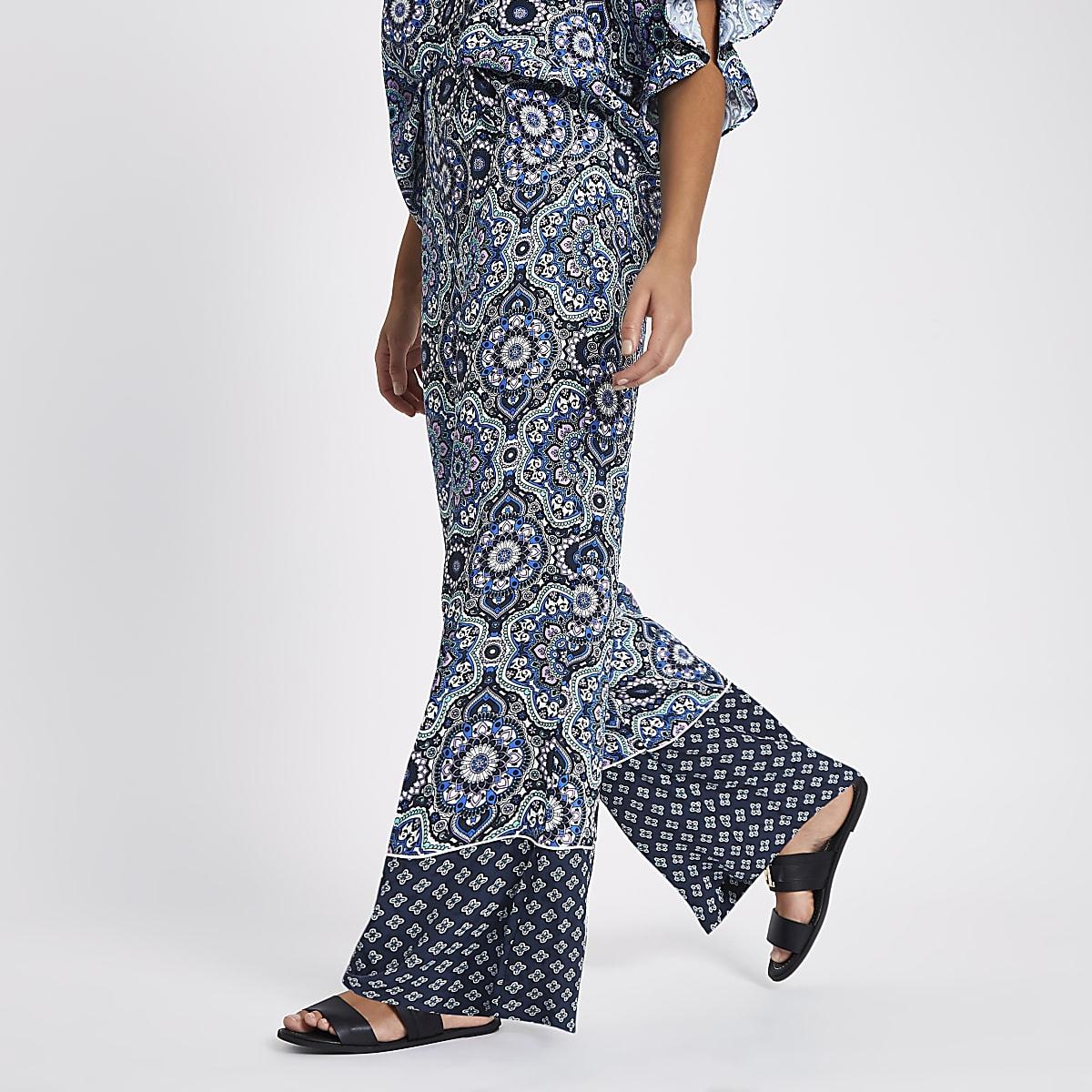Blue wide leg mixed print pants
