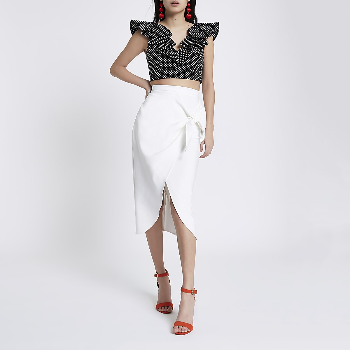 White tie front pencil skirt