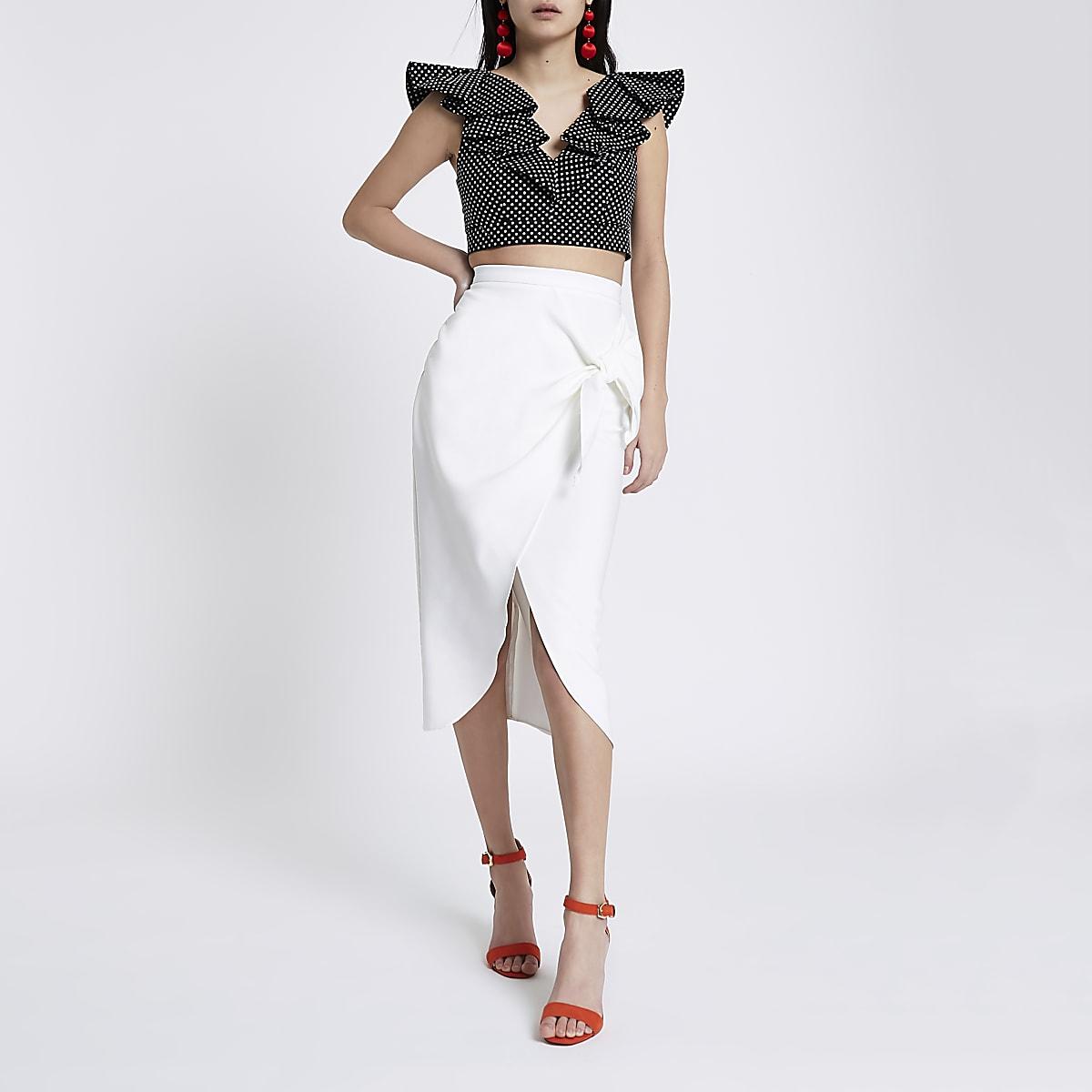 4e25b0f6a White tie front pencil skirt - Midi Skirts - Skirts - women