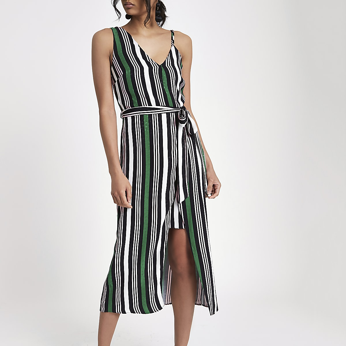 Green stripe tie waist midi dress