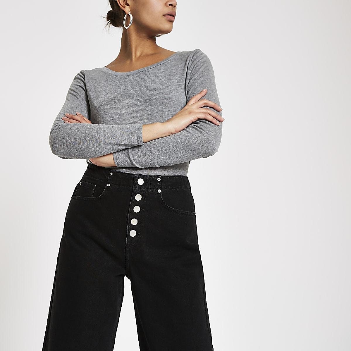 Alexa – Jupe-culotte en jean noire à ourlet effiloché