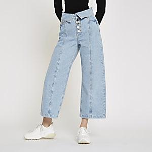 Alexa - Lichtblauwe cropped jeans met wijde pijpen