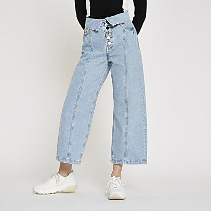 Light blue Alexa wide leg cropped jeans