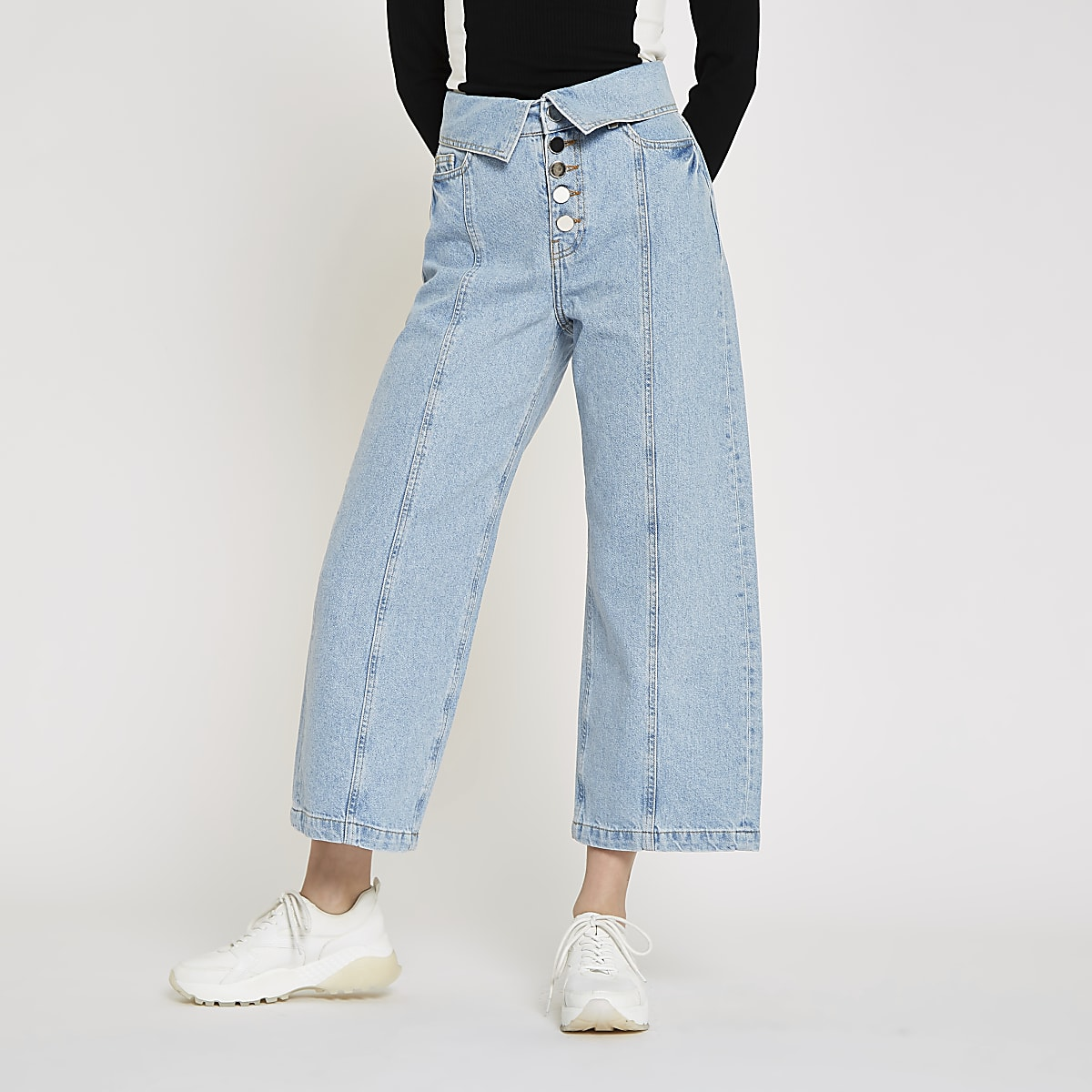 Light blue Alexa wide leg cropped jeans