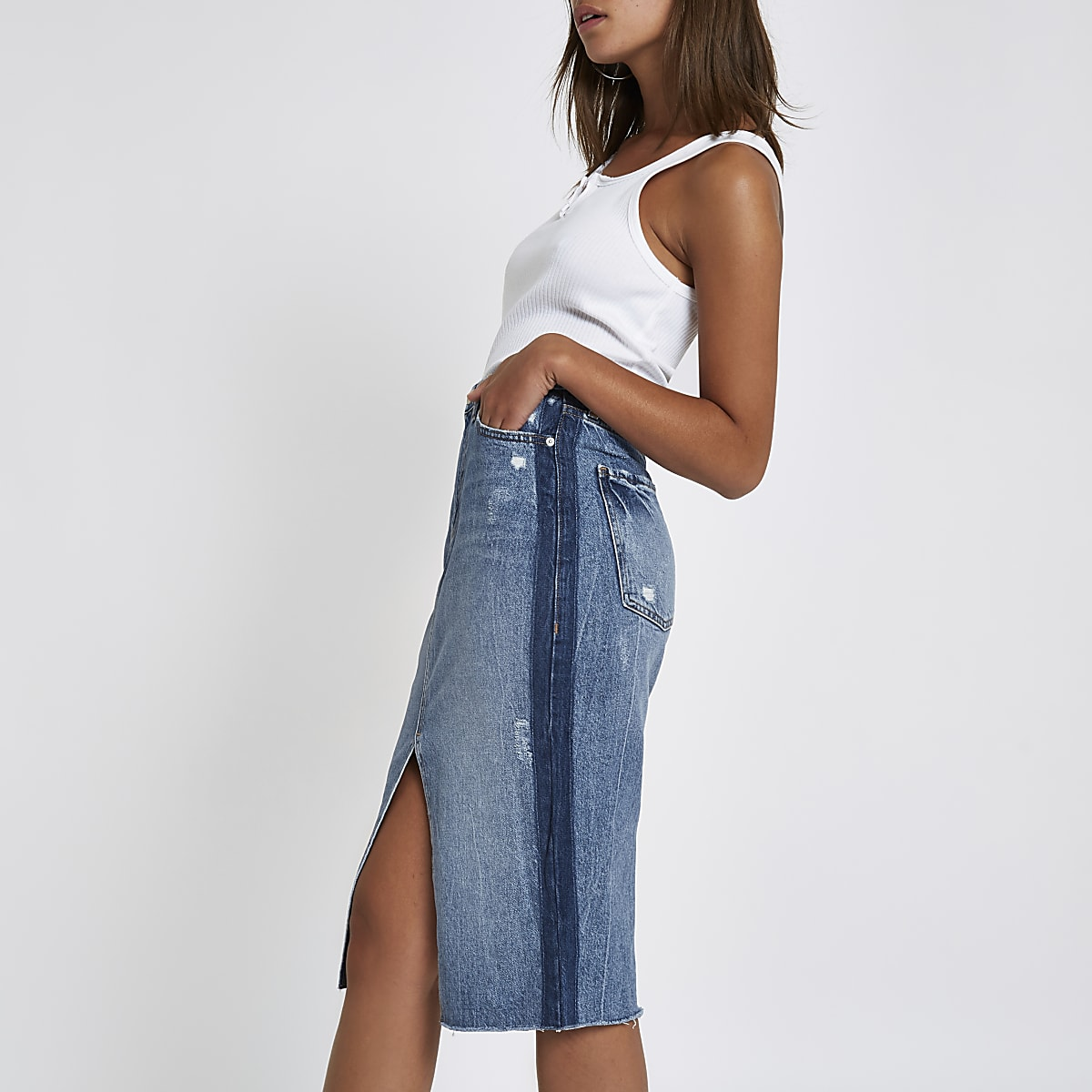 Mid blue premium split front denim midi skirt