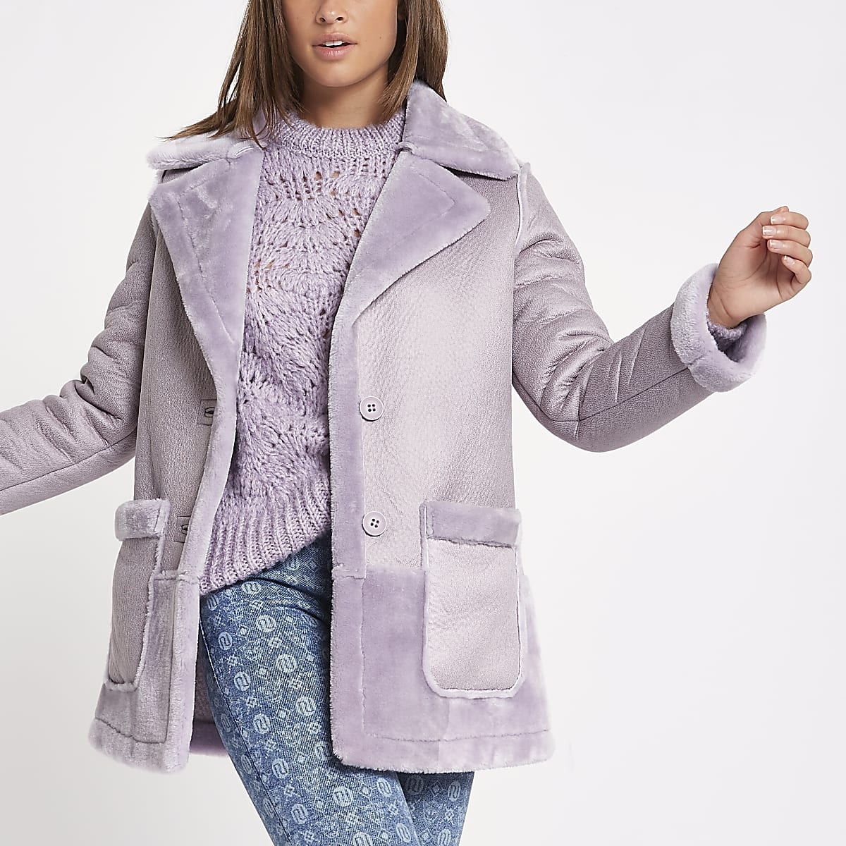 Light purple faux fur reversible coat