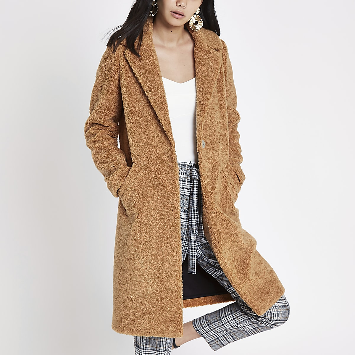 Light brown borg longline coat