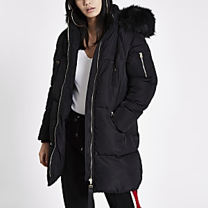 Black faux fur hood longline puffer jacket