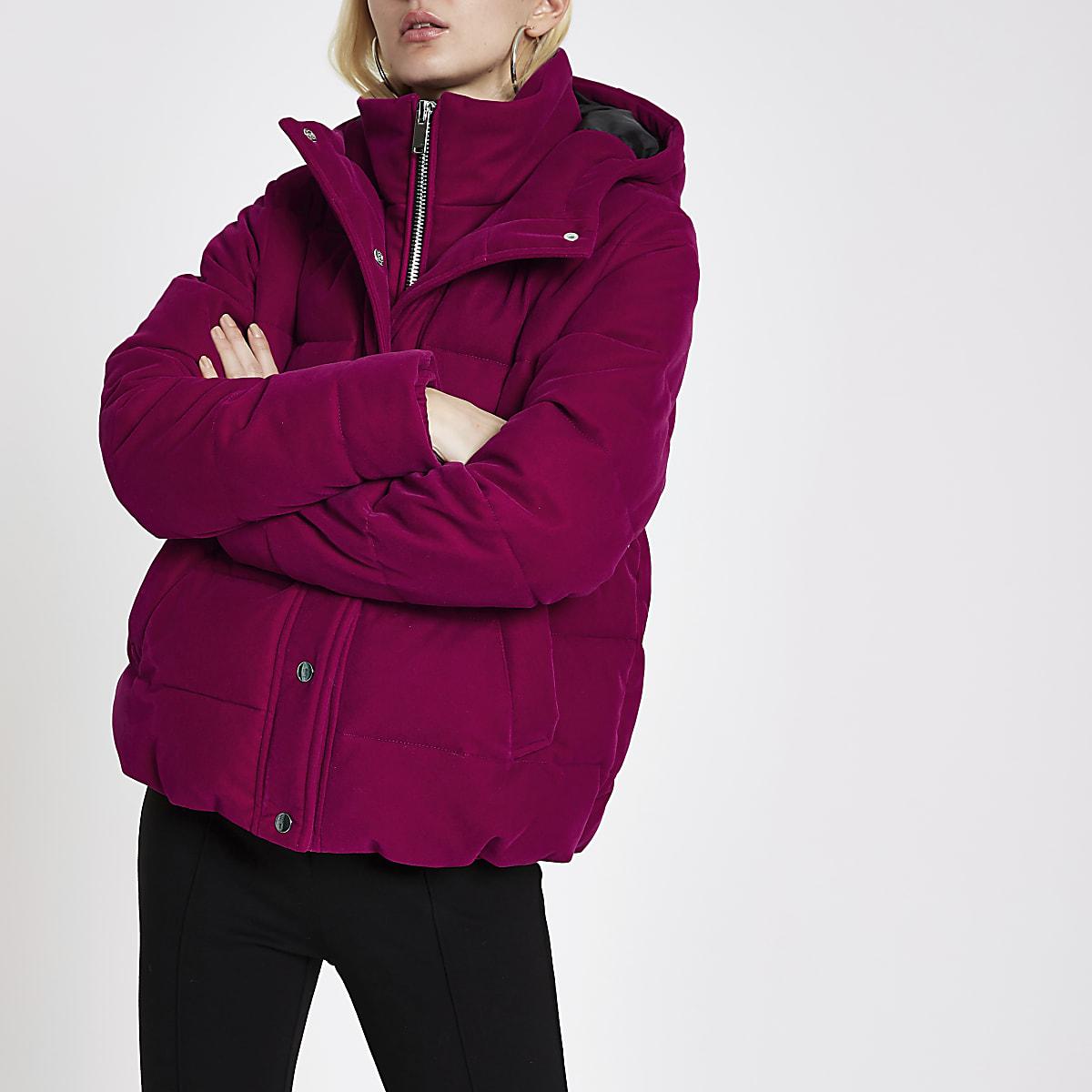 uk availability 29c8e 8e463 Pink velvet double layer hooded puffer jacket