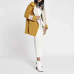 Yellow borg panelled coat