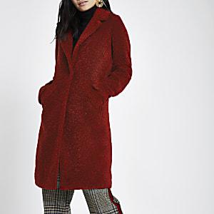 Dark red fleece coat