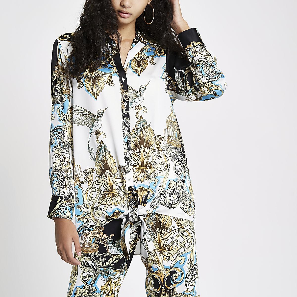 Cream print knot front shirt