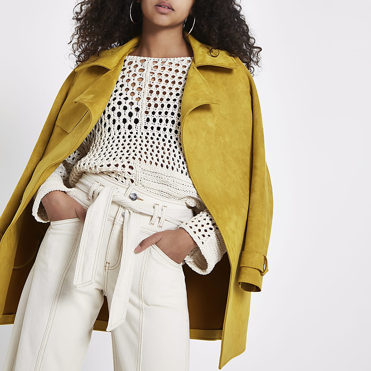 Yellow faux suedette trench coat