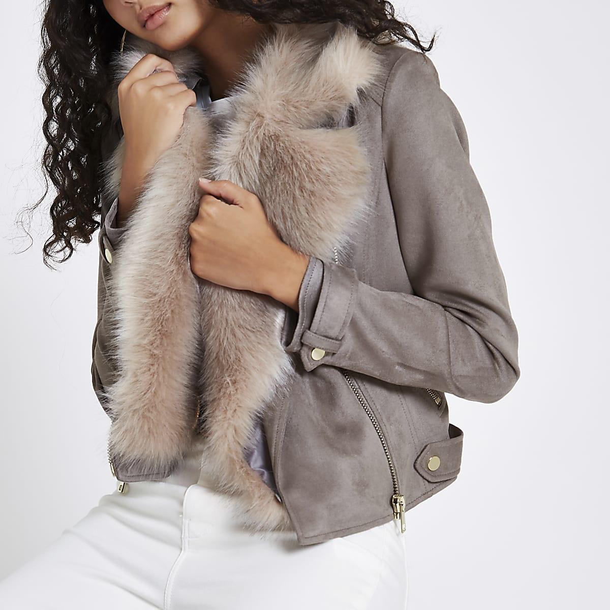Grey faux suede fur trim biker jacket