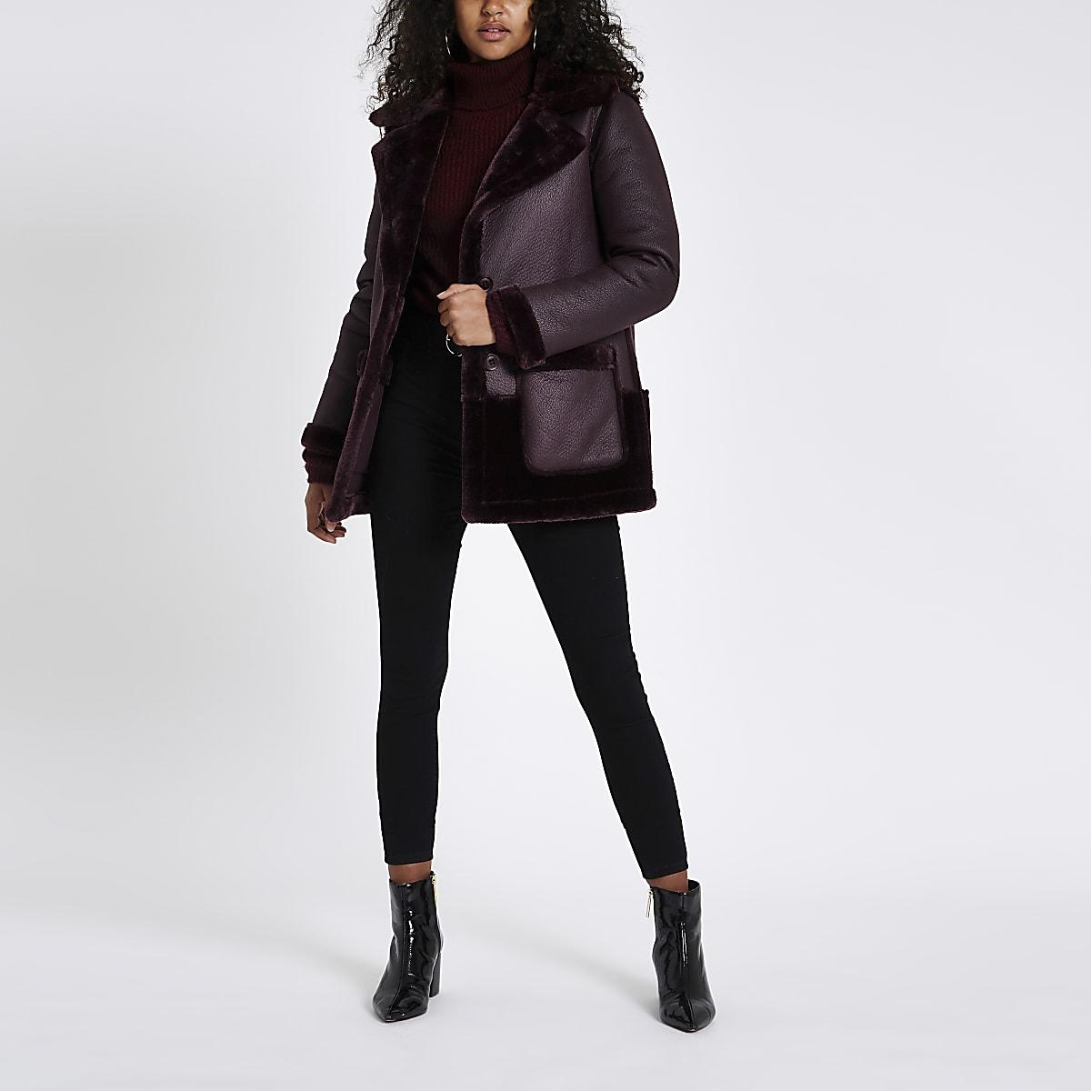 Purple faux fur reversible coat