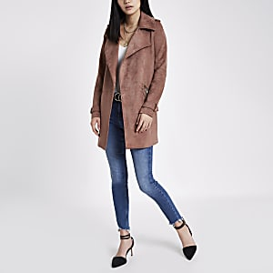 Pink faux suede longline trench coat