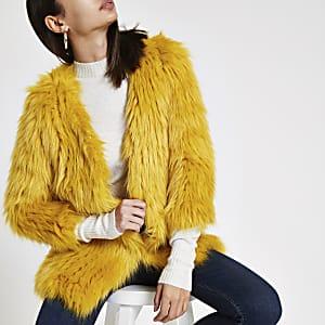 Yellow faux fur knit coat
