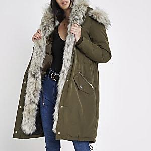 Khaki faux fur trim hooded parka