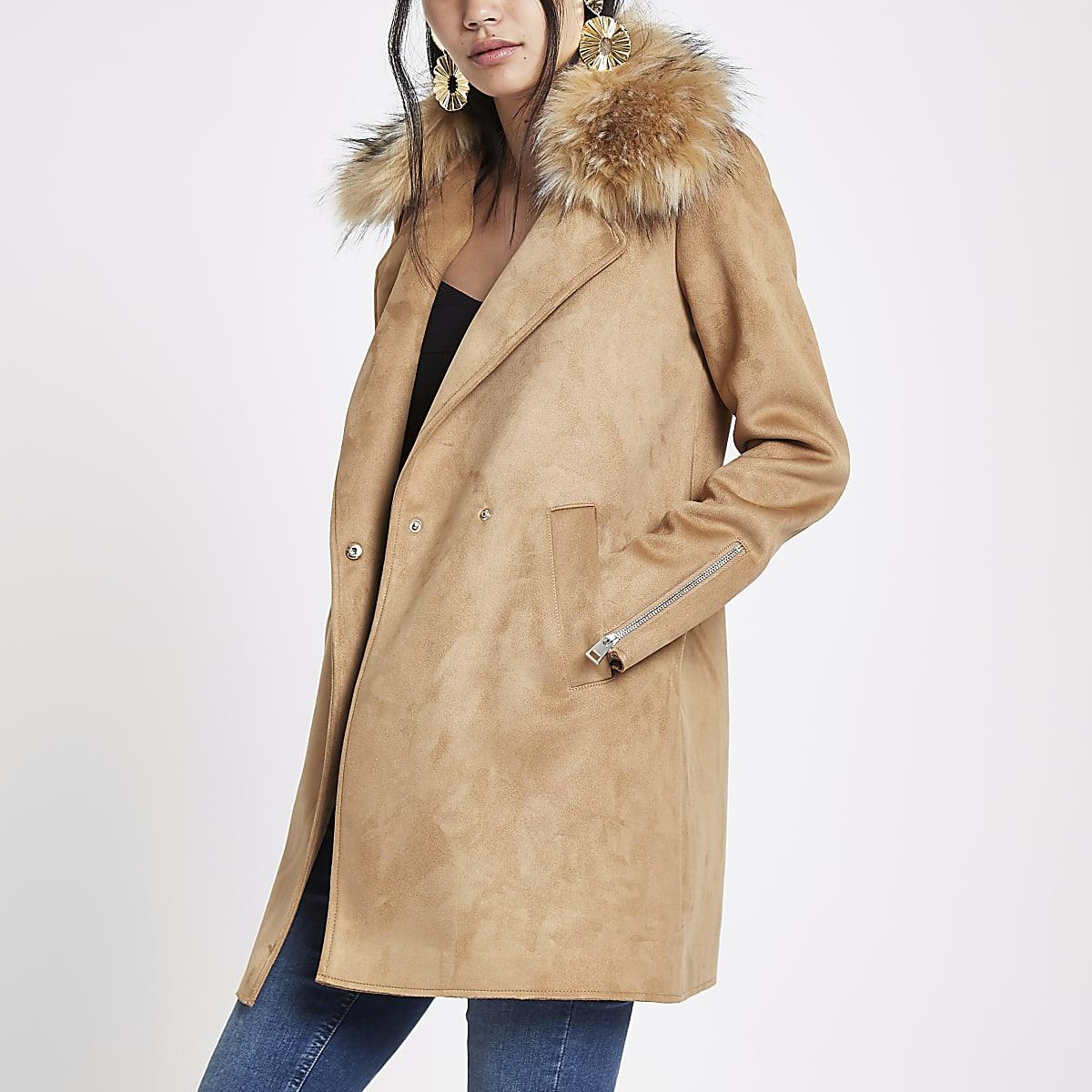 f6c73b7350ad Brown faux fur collar swing coat - Coats - Coats   Jackets - women
