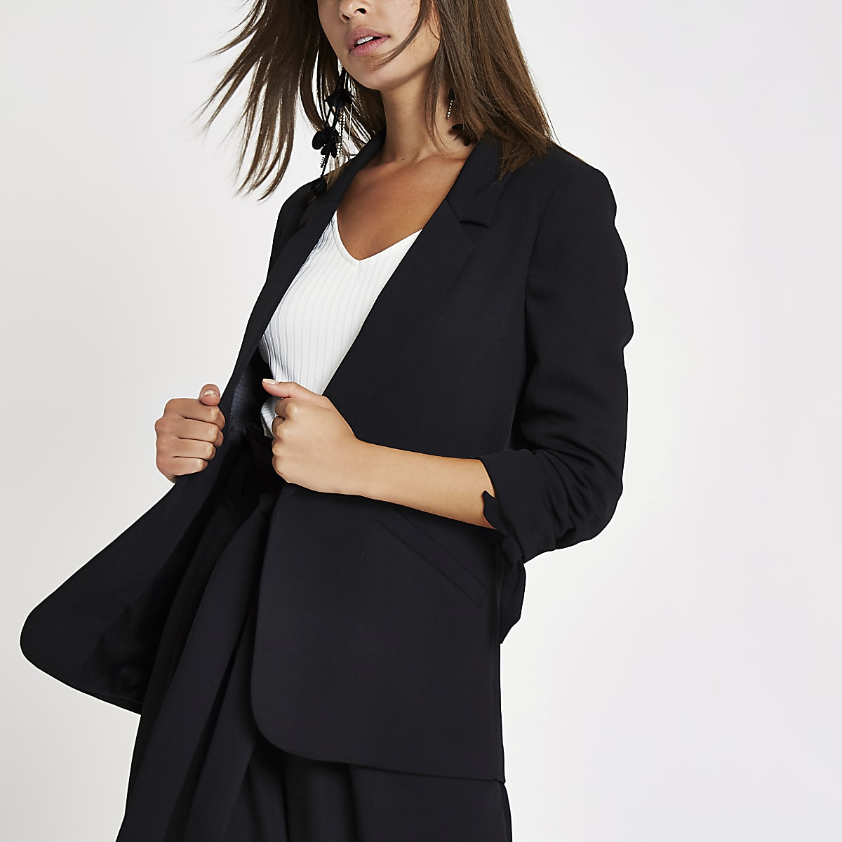 Black ruched tie sleeve blazer