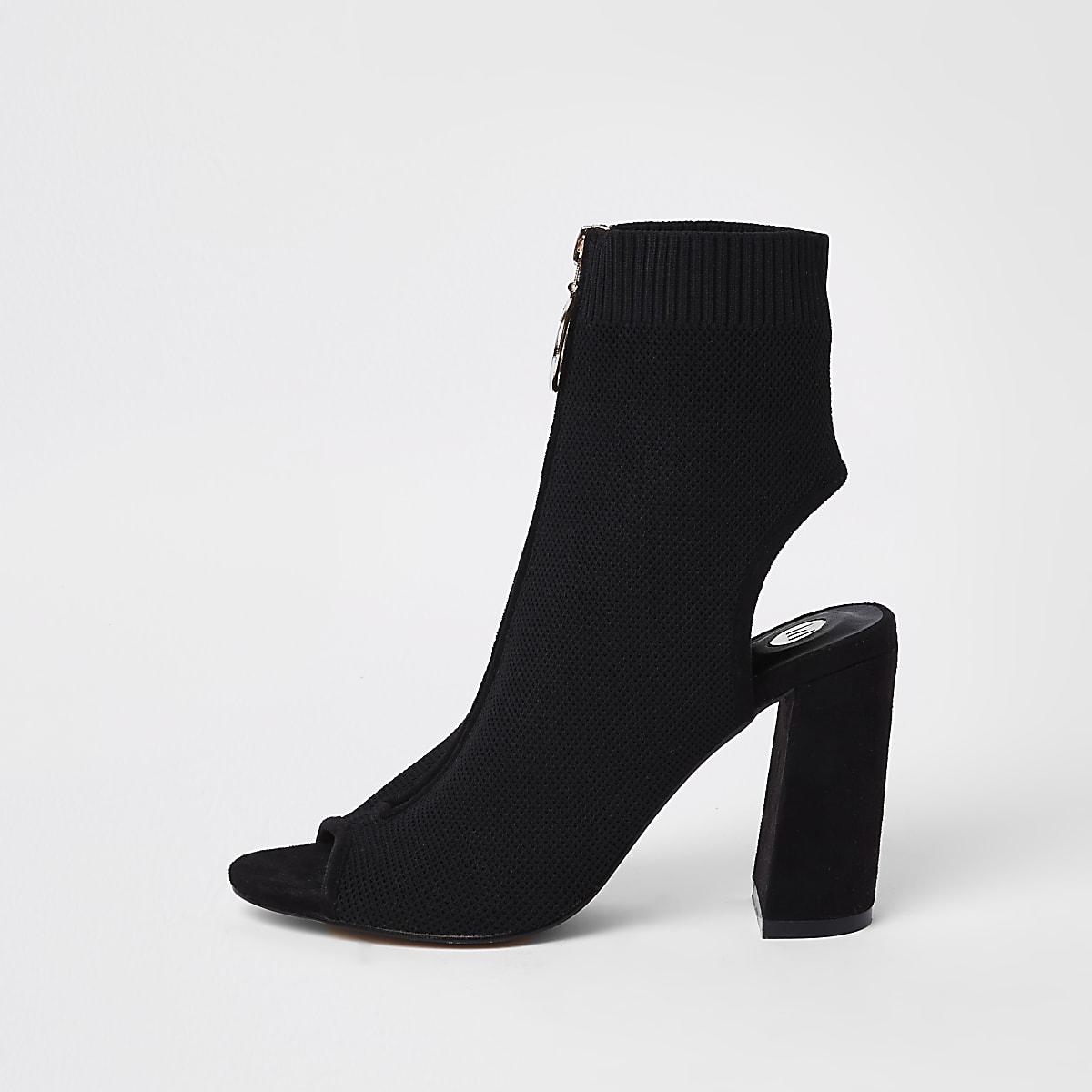 Black knit zip front shoe boots
