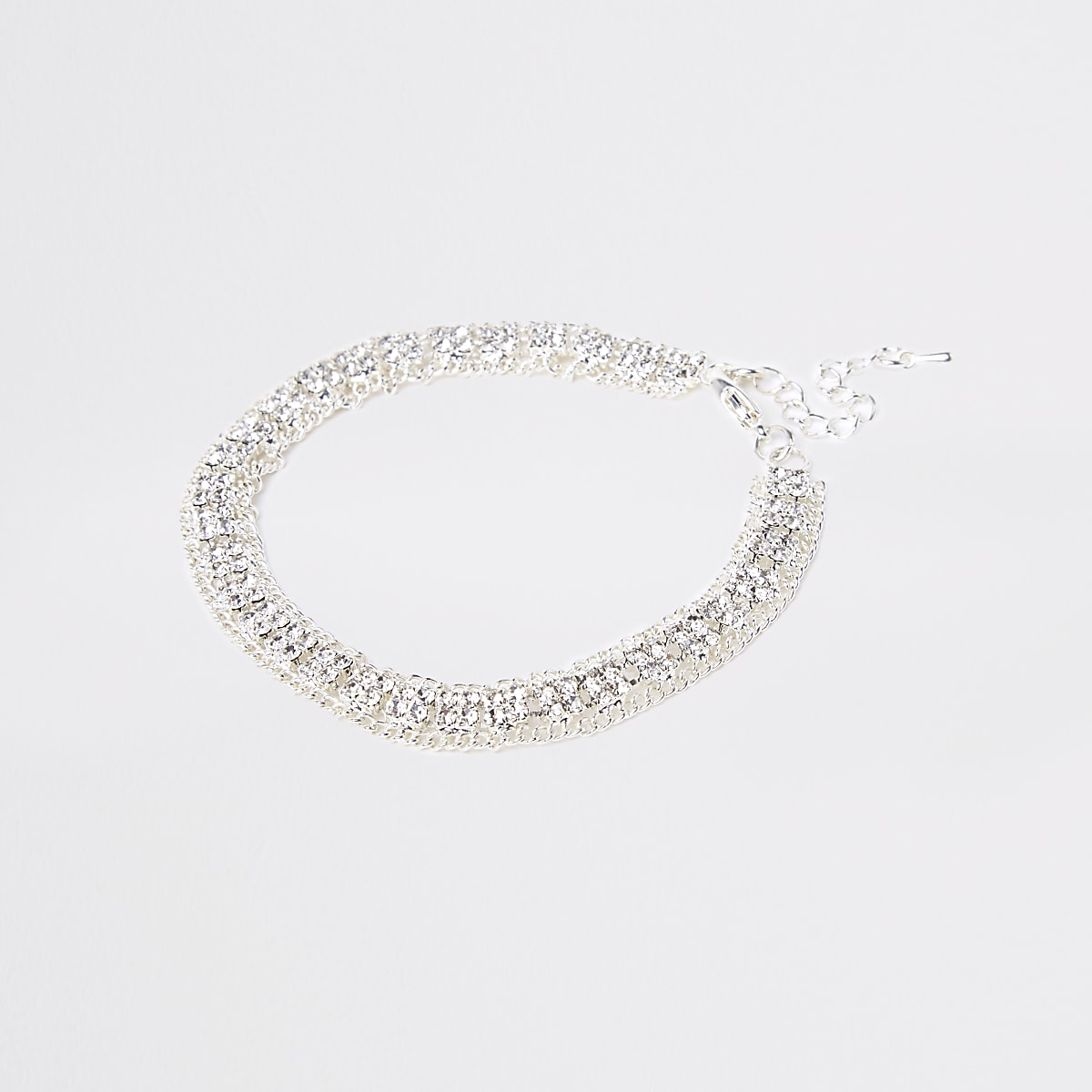 Silver colour square diamante cupchain anklet