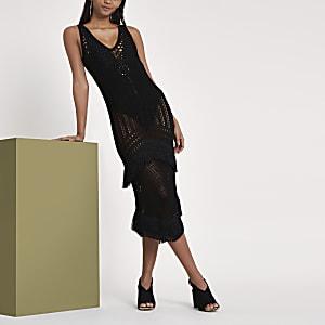 RI Studio black crochet fringe midi dress