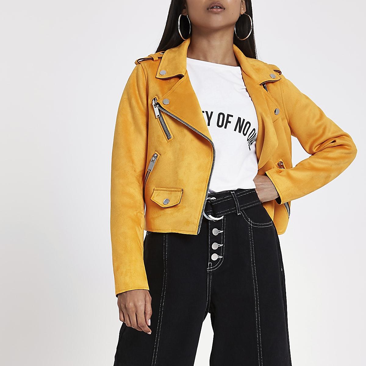 Petite orange faux suede biker jacket
