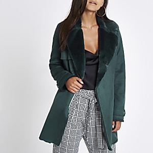 Petite dark green faux fur fallaway jacket