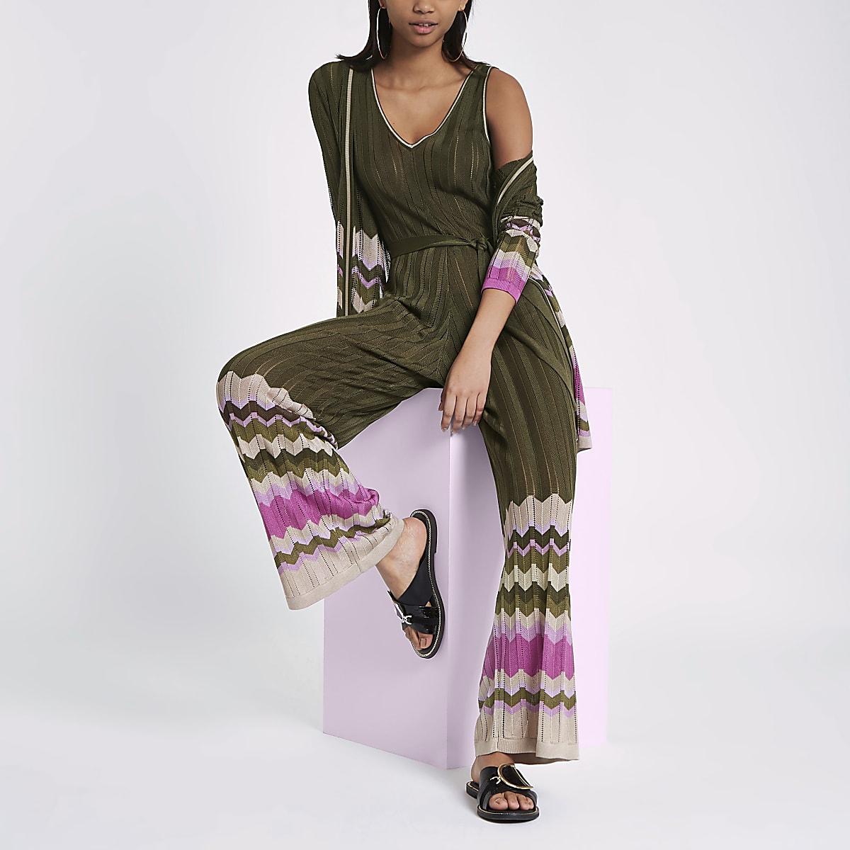 ac78c641cca RI Studio khaki stripe knit wide leg jumpsuit - Jumpsuits - Playsuits    Jumpsuits - women