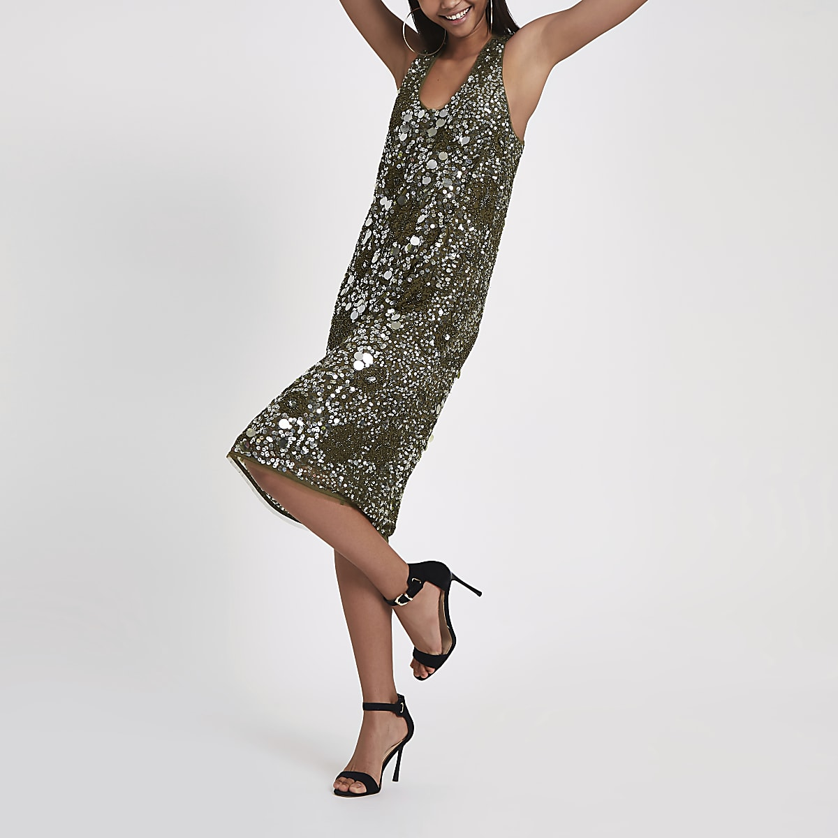 RI Studio khaki sequin embellished dress
