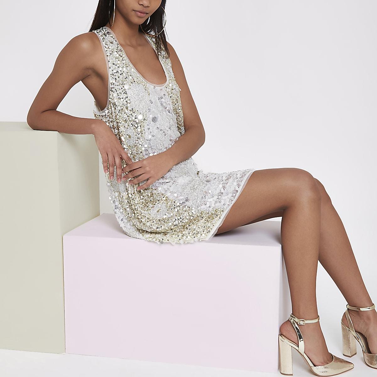 b40ad8d07c1c RI Studio white sequin embellished dress - Swing Dresses - Dresses - women