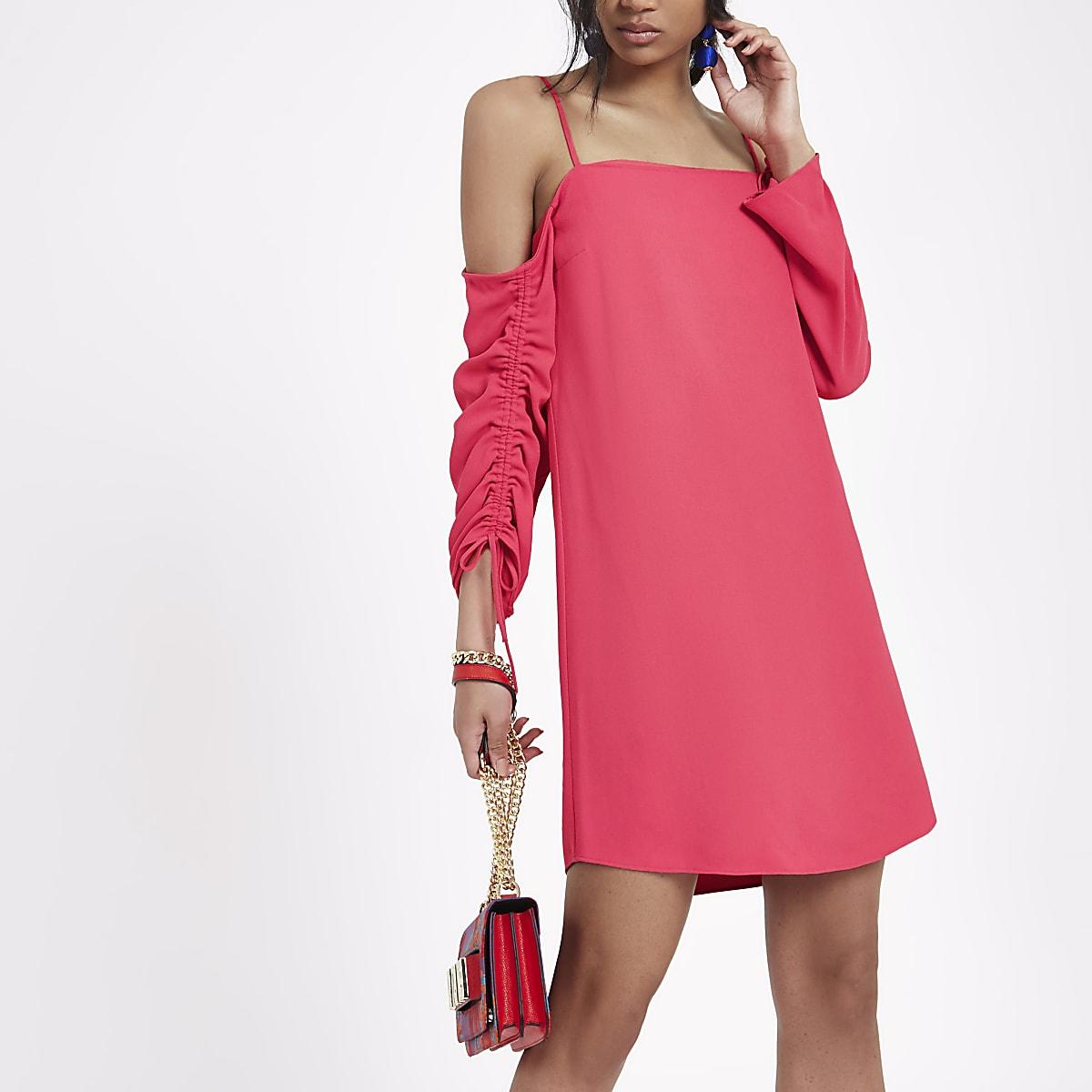 Bright pink cold shoulder swing dress