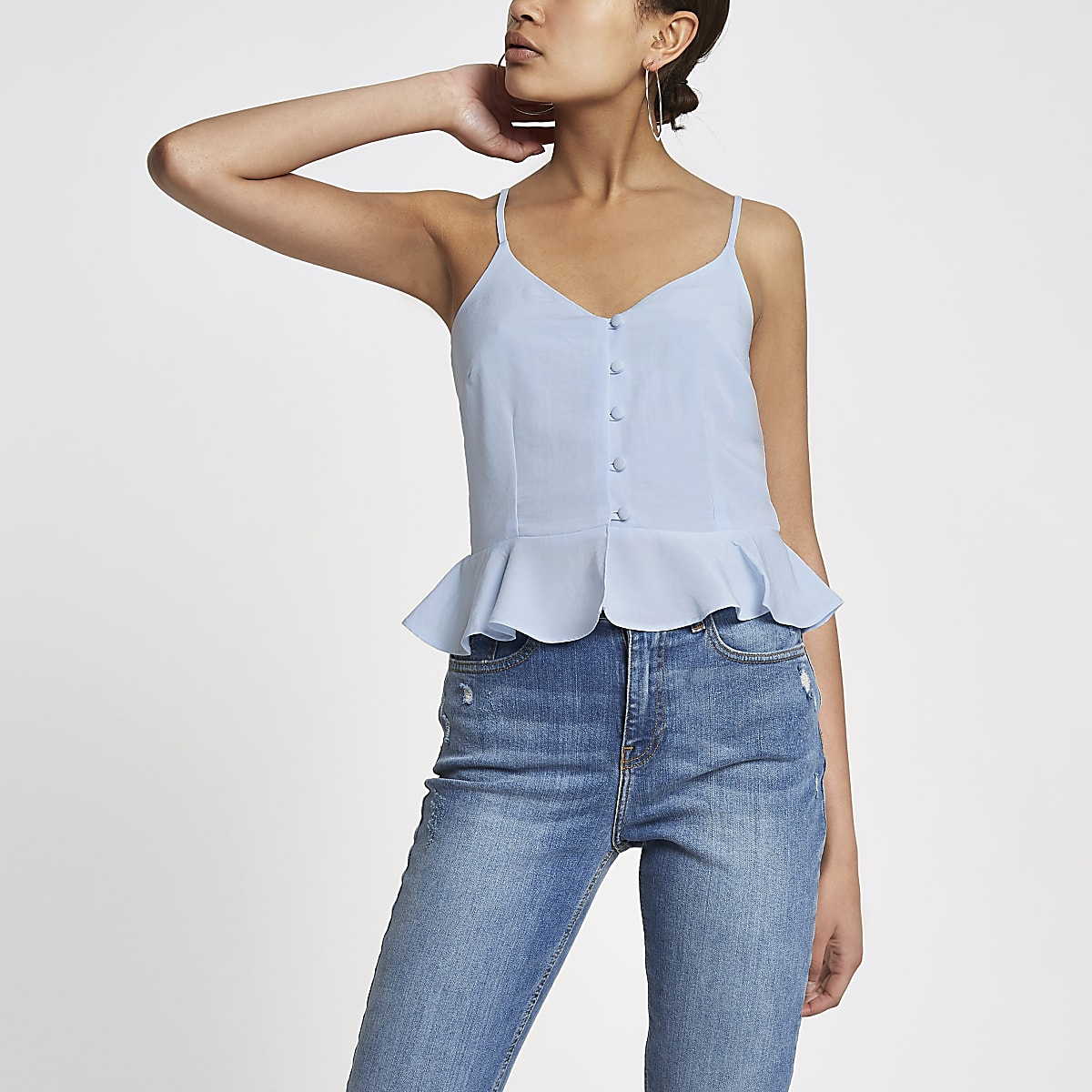 Blue peplum hem button front cami top