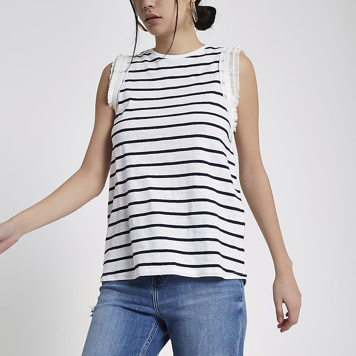 White stripe frill sleeve tank top