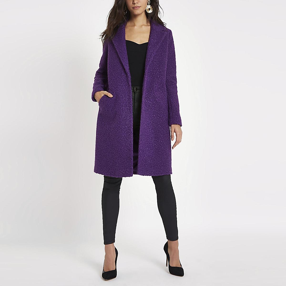 Purple boucle coat