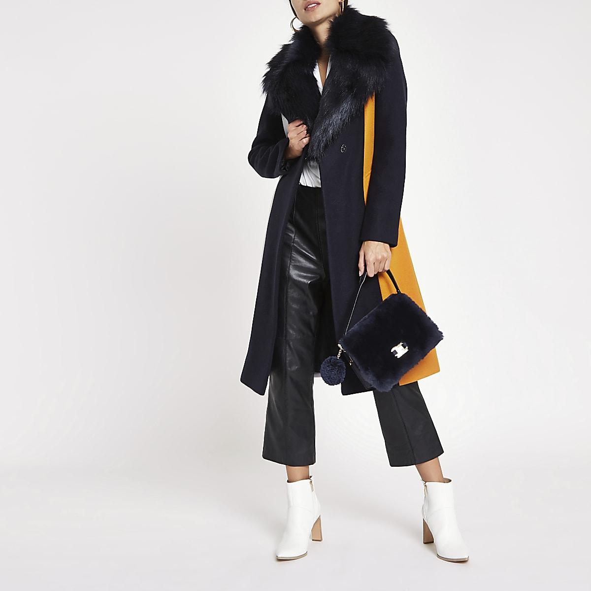 Navy block print faux fur trim robe coat
