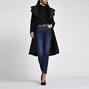 Black belted faux fur belted wool coat