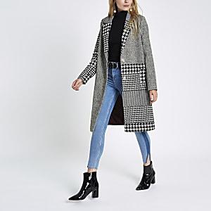 Black mixed check wool coat