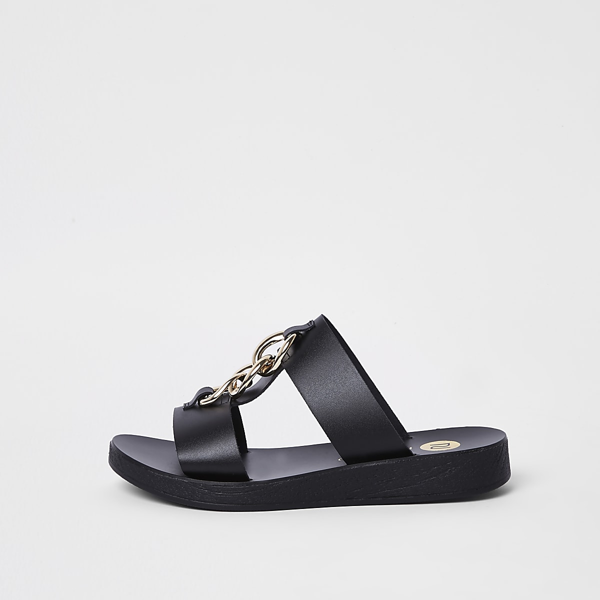 Black leather double link chain mules