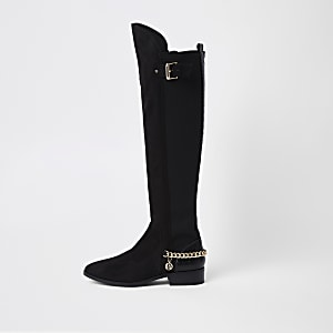 Black over the knee chain boots