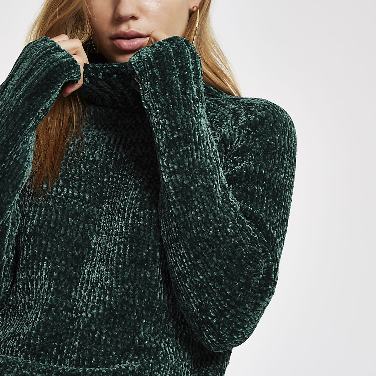 17fd2e01200e Dark green knit chenille jumper - Jumpers - Knitwear - women