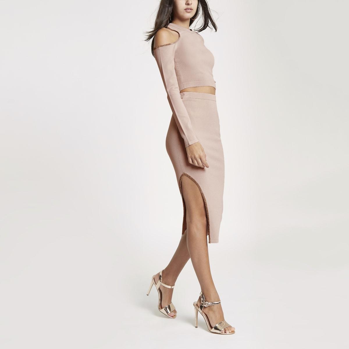 Pink knit cut out midi skirt
