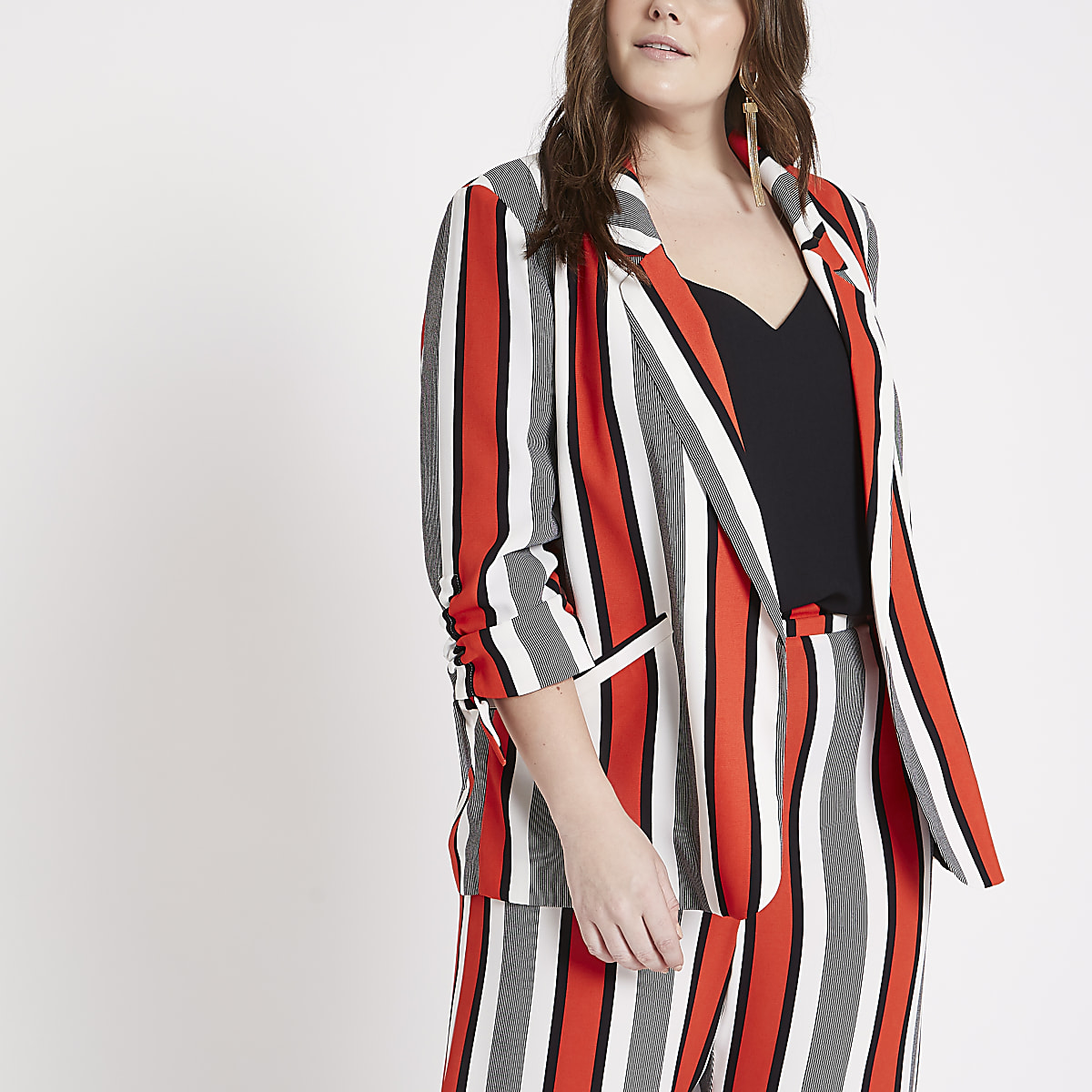Plus Red stripe ruched sleeve blazer