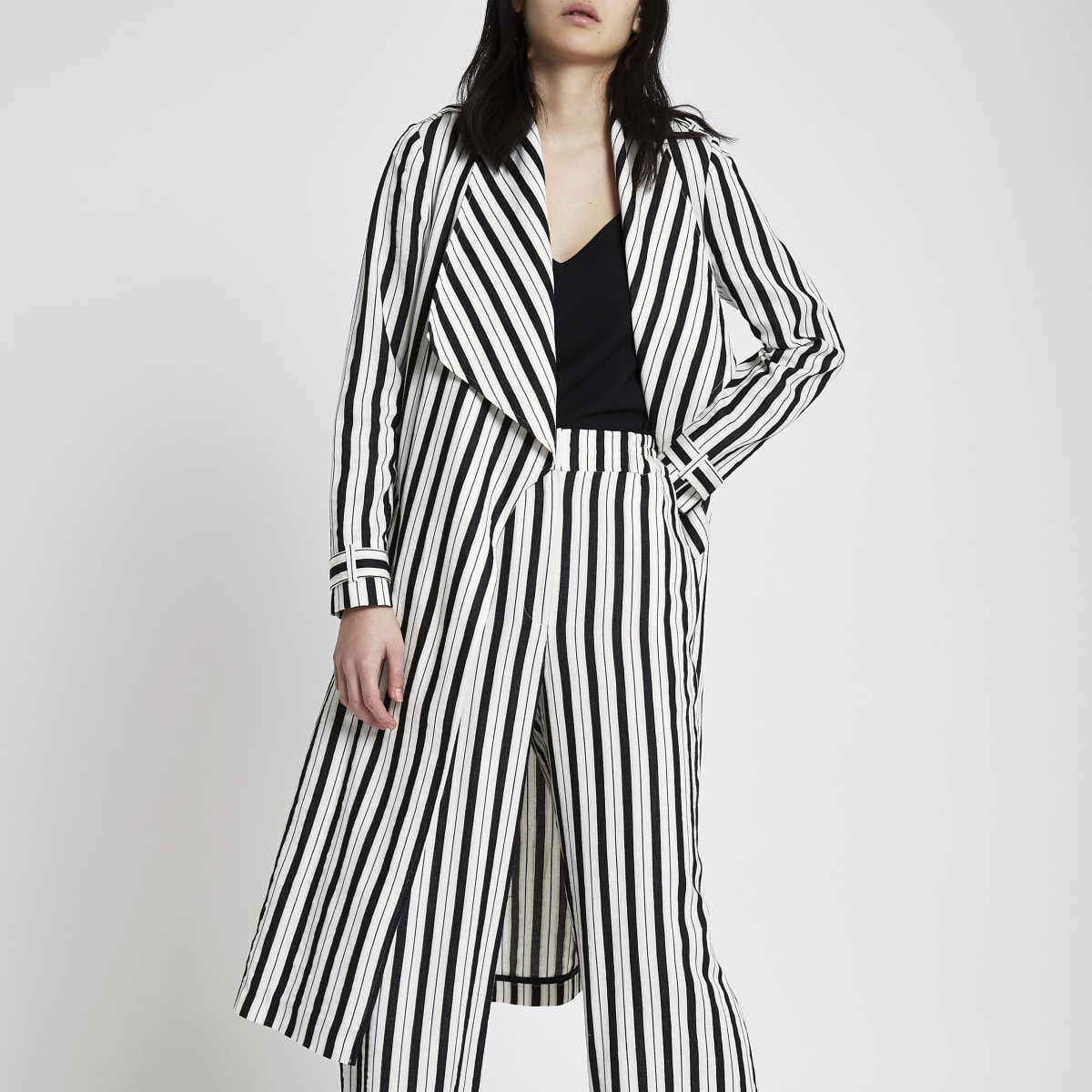 Black stripe duster trench coat
