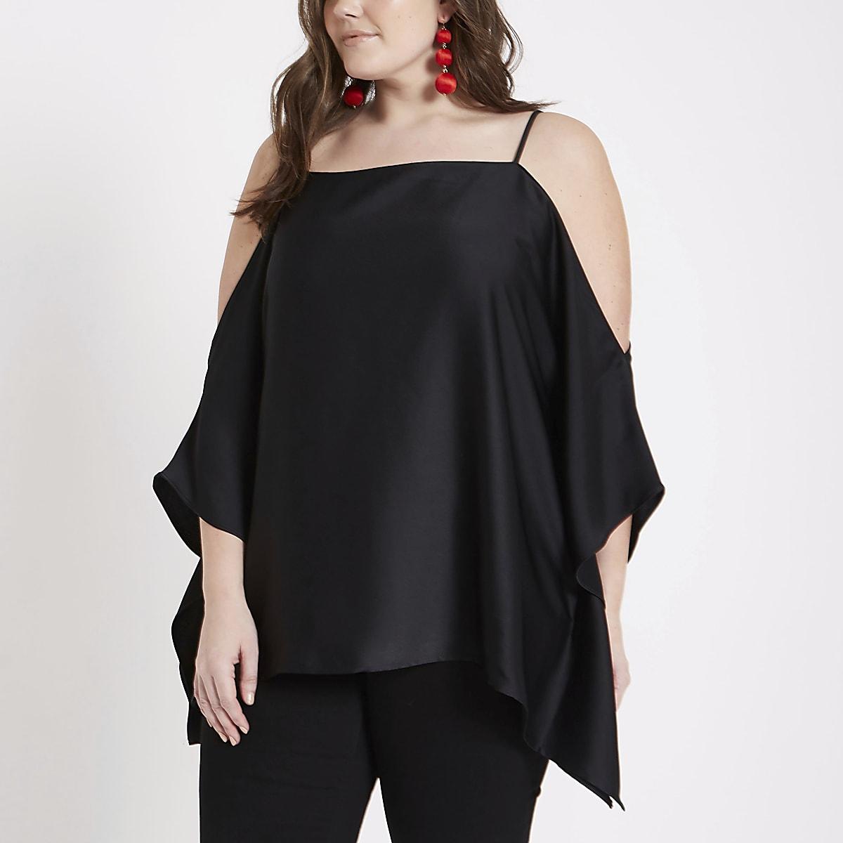 3981b0b44298d Plus black cold shoulder kimono cami top - Bardot   Cold Shoulder Tops -  Tops - women