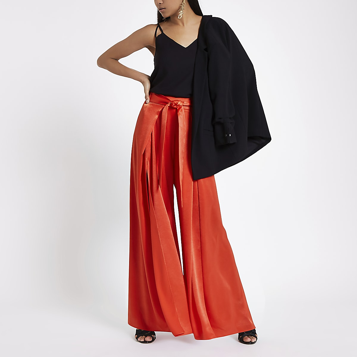 Petite red split wide leg trousers