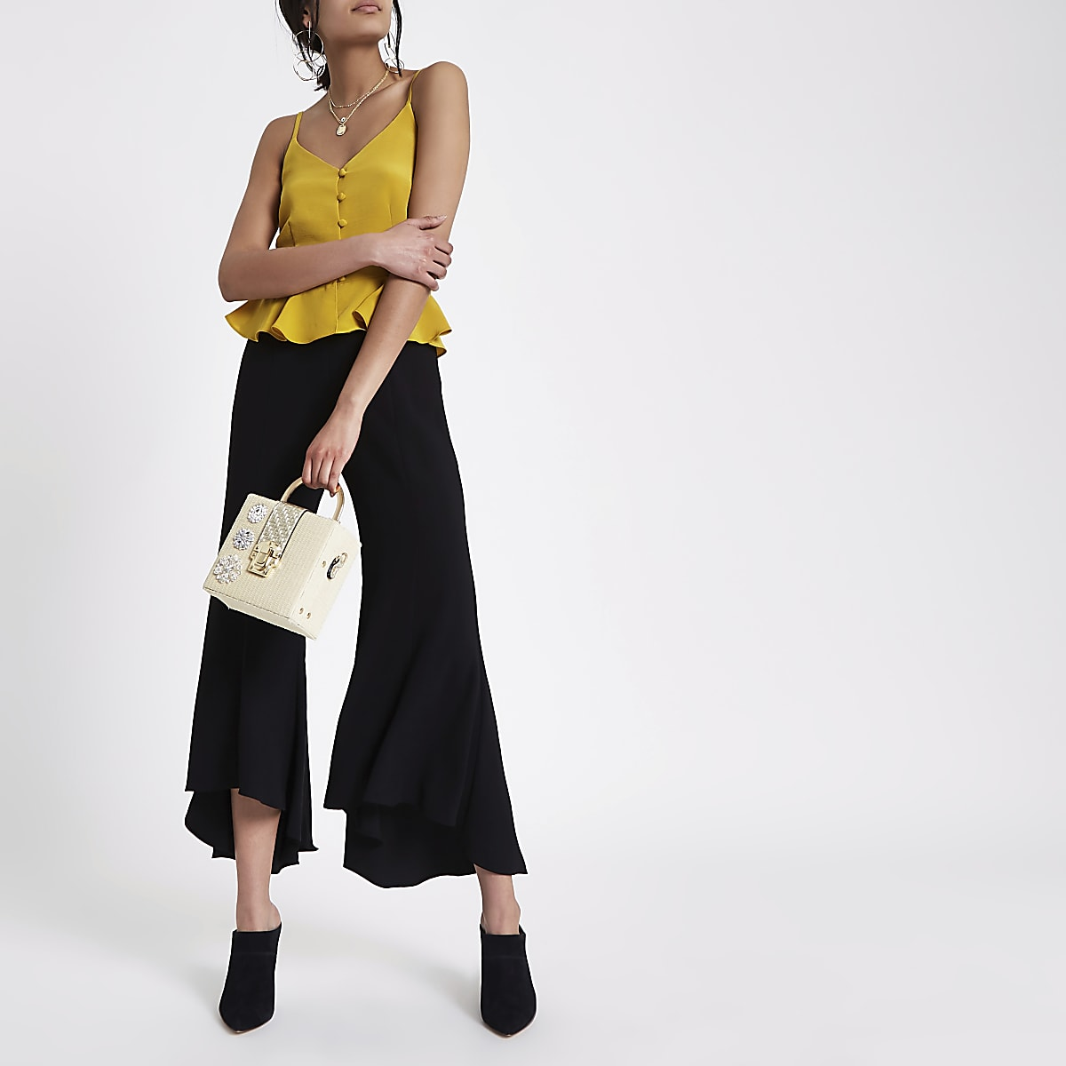 Black chain detail flare trousers