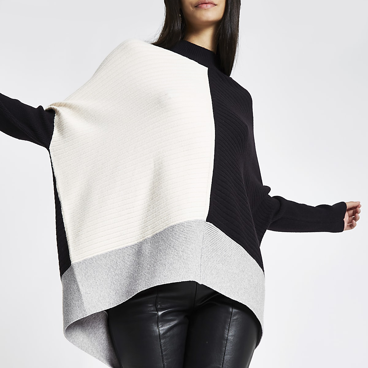 Black ribbed knit color block sweater